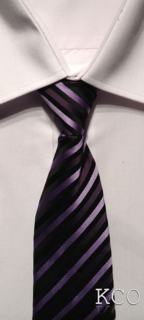 Elasticated Tie~ Style 150E Black/Lilac